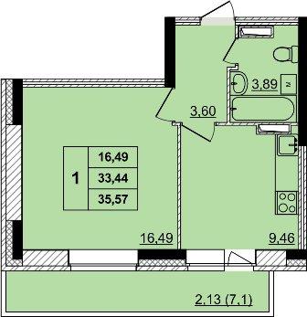 однокомнатная квартира в новостройке в Дзержинском районе