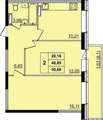 двухкомнатная квартира в новостройке на батова