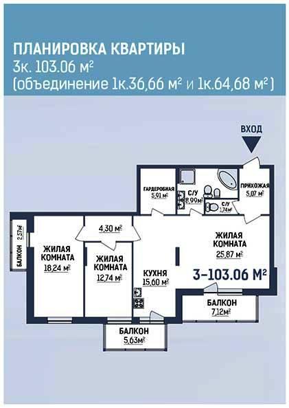 трёхкомнатная квартира в новостройке