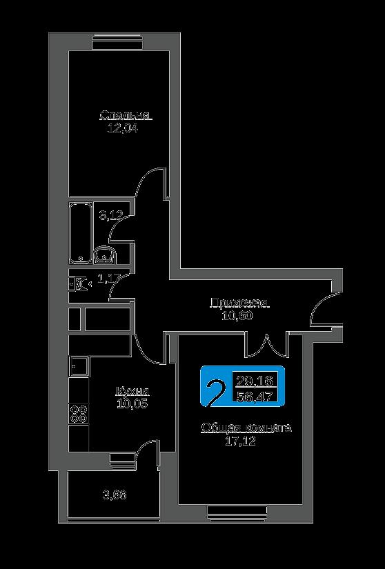 двухкомнатная квартира в Заволжском районе